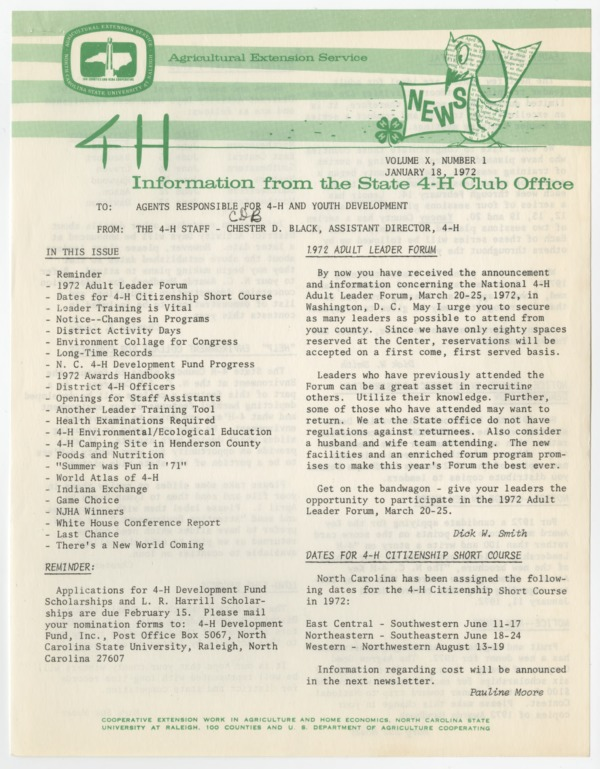 4-H News, vol. X, no. 1 - 1972-01-18