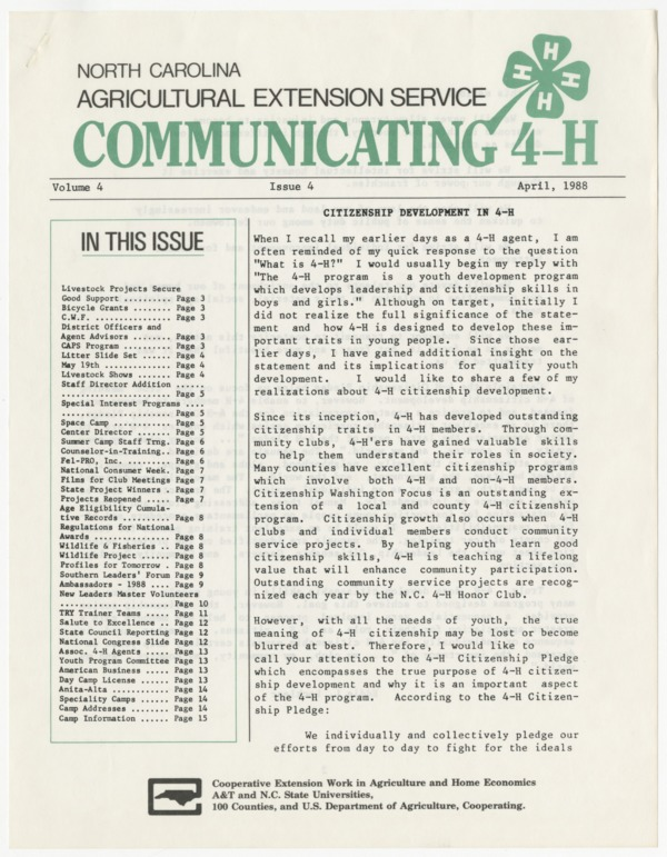 Communicating 4-H, vol. 4, no. 4 - 1988-04