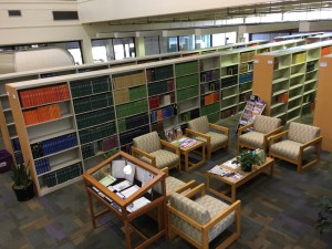 A photo from above of the Veterinary Medicine Library reading area.