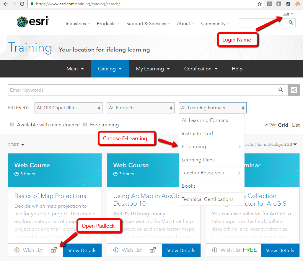 Click this image to see important components of the Esri Training Site.