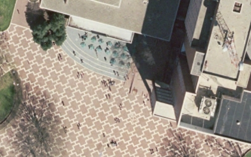 2004 Raleigh orthophoto of NCSU Brickyard prior to Atrium renovation.
