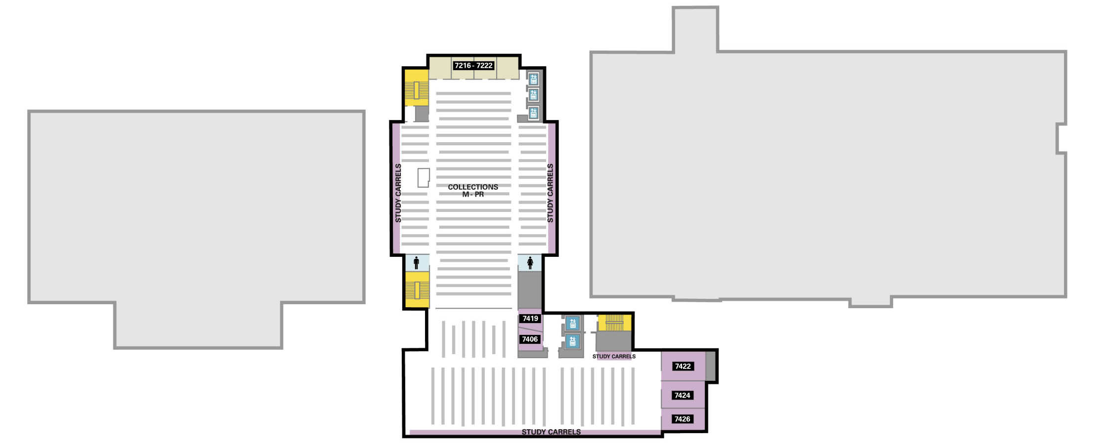 Seventh floor: book stacks, call numbers M through PR; group study rooms; study carrels