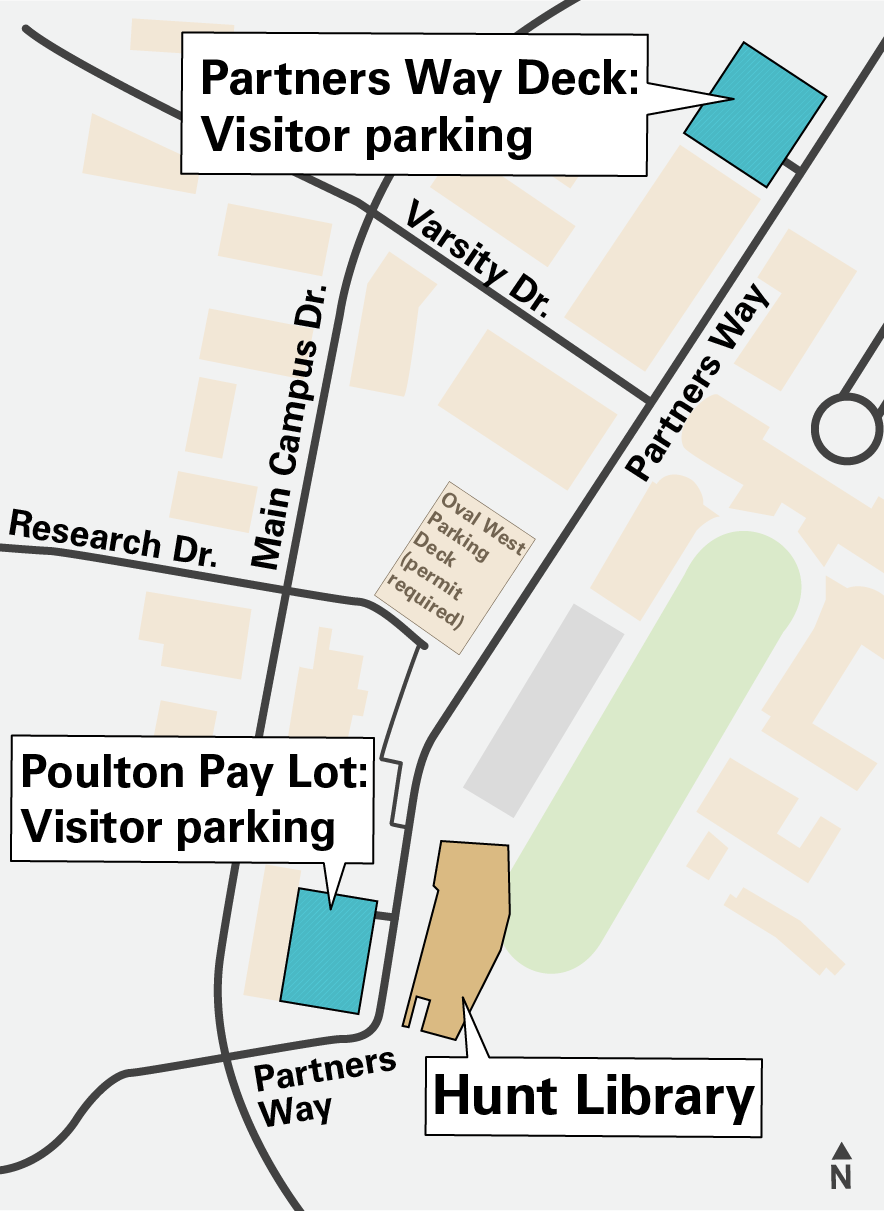Map of parking spaces for Hunt: Poulton Pay Lot and Partners Way Parking Deck