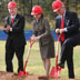 UNC President Erskine Bowles, Chancellor James Woodward, former governor James B. Hunt, Jr, Senator Kay Hagan, and Lieutenant Governor Walter H. Dalton break ground on Hunt Library, October 23, 2009.