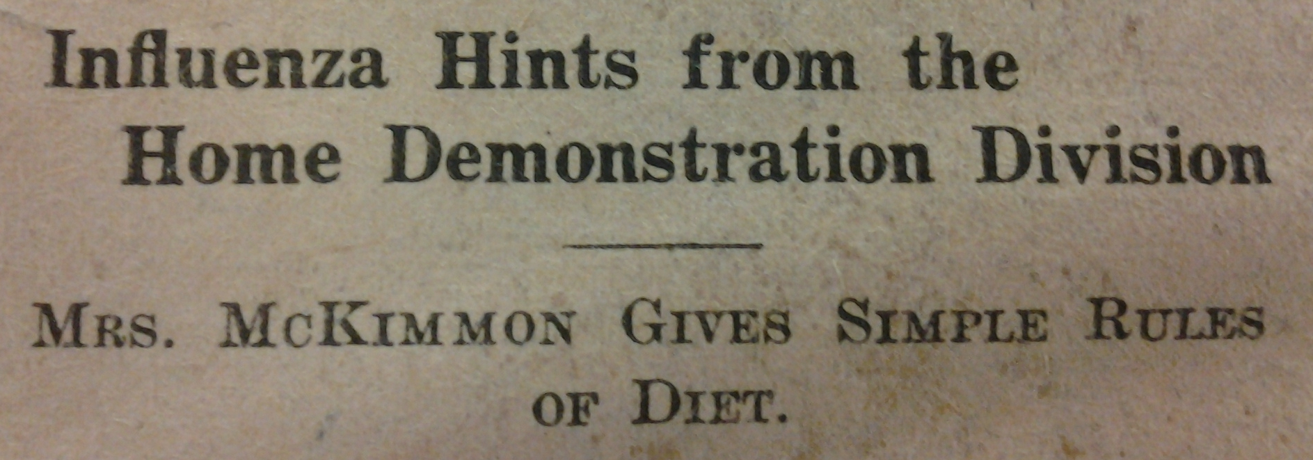 From Extension Farm-News, 26 Oct. 1918
