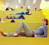 Students posing on the monumental stairs
