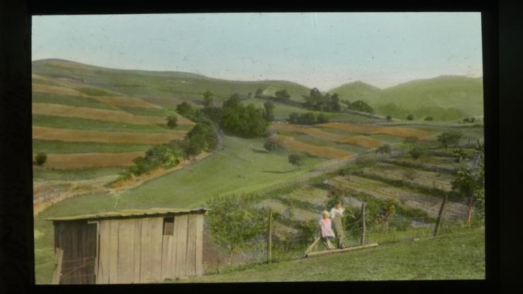 Children in front of strip farming fields