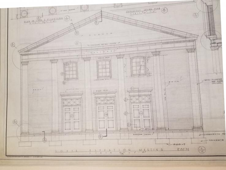 Detail of South Elevation, Meeting Room, High Point Friends Meeting House, designed by Voorhees and Everhart