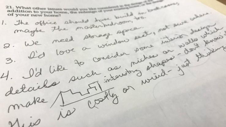 Client's response to a questionnaire