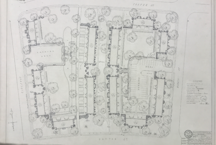 A block-by-block planting plan for McDougald Terrace, built as a segregated African-American housing community in Durham.