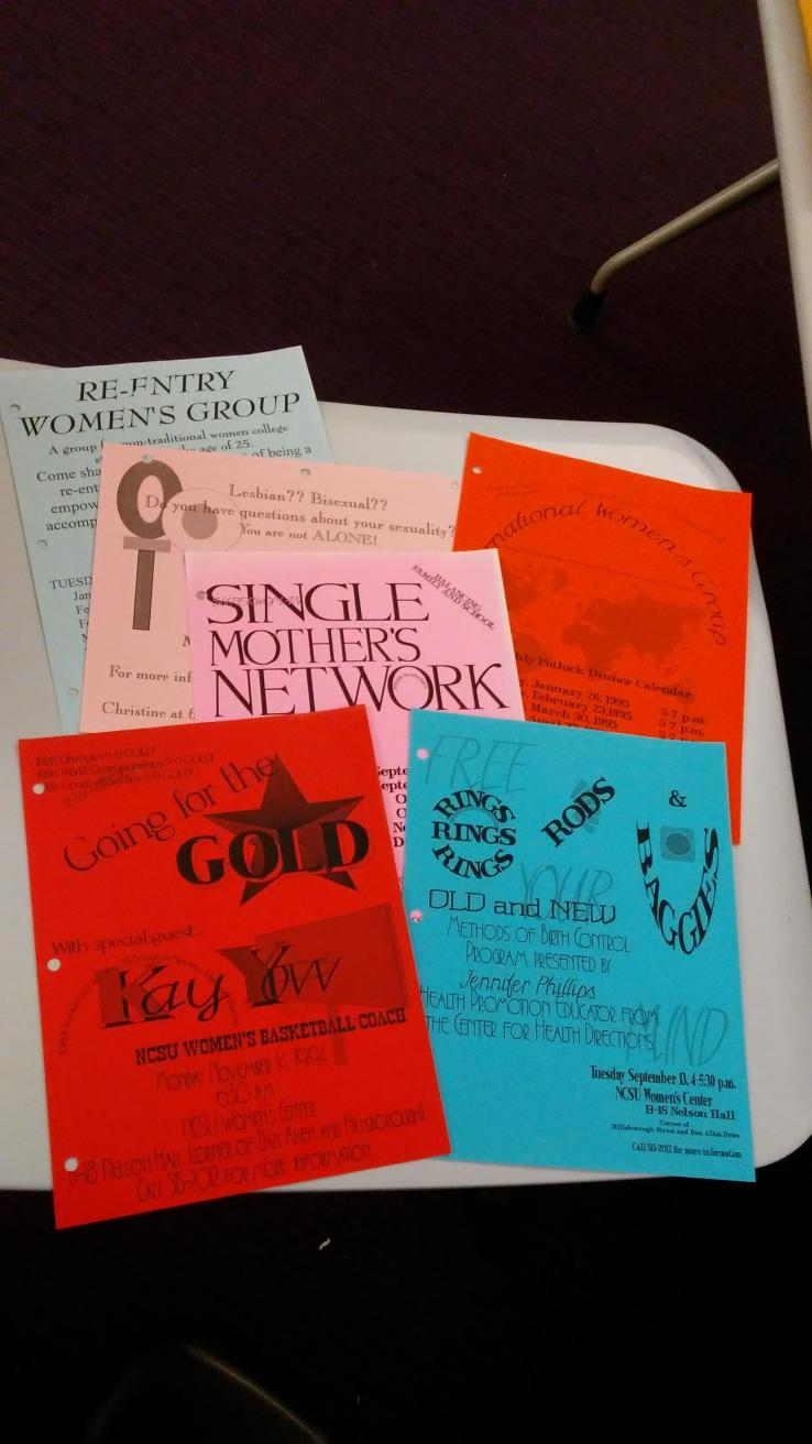 Flyers for events sponsored by NCSU's Women's Center