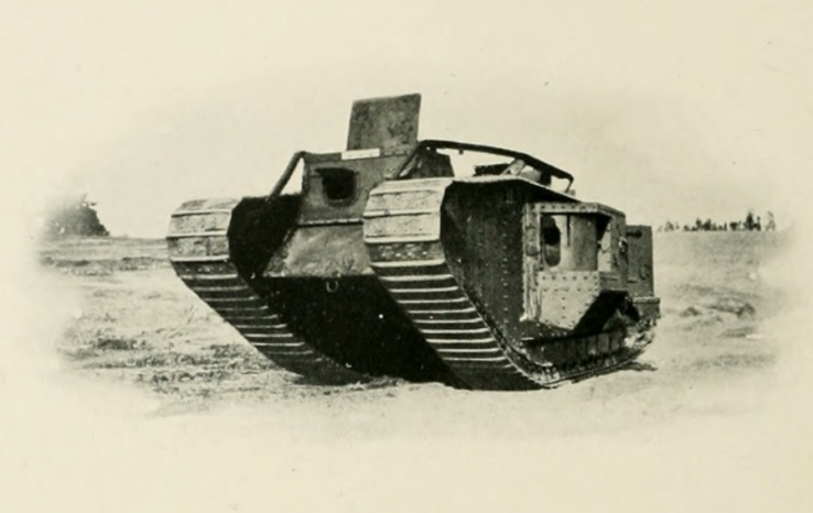 A British Mark V tank at Camp Polk, across Hillsborough Street from the NC State campus during World War I (photo from the 1919 Agromeck)