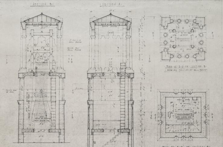 Memorial Belltower Plans Detailing Bells (undated)