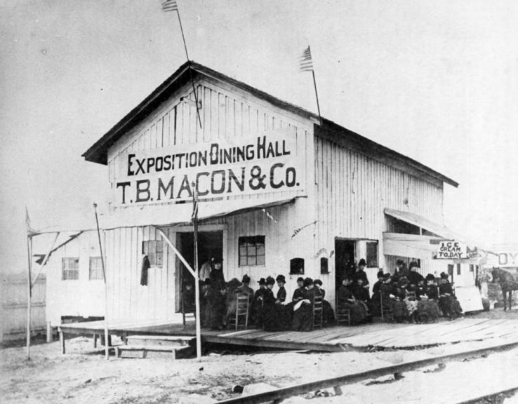 This dining hall was set up for the North Carolina Exposition of 1884, which highlighted the state's progress in agriculture and industry.