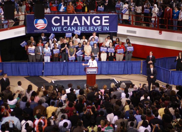 Michelle Obama Addresses an Audience at NC State