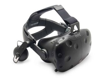 Black plastic HTC Vive headset, used for virtual reality experiences