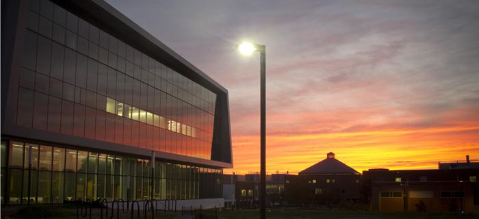 Hunt Library at sunset