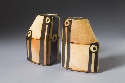 Suze Lindsay, Pair of Black and Tan Vases. Gift of Bernard J. and Patricia H. Hyman.