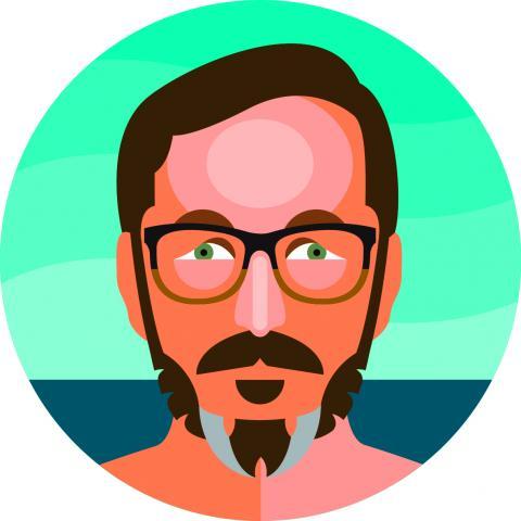 John Hodgman portrait, credit Aaron Draplin