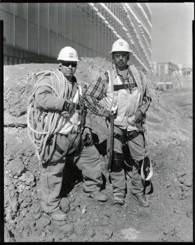 Two workers at the Hunt Library construction site.