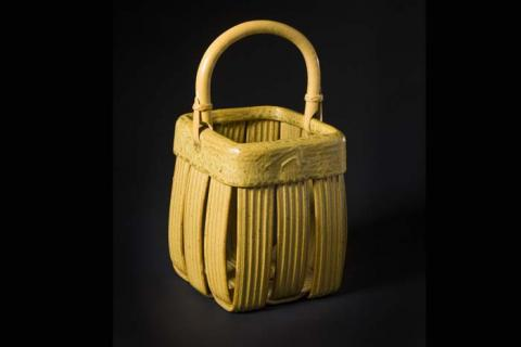 Jim and Shirl Parmentier, Woven Clay Basket with Bamboo Handle. Gift of Bernard J. and Patricia H. Hyman.
