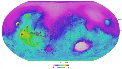 This topographic map of Mars, submitted by Paul Byrne, won first place in 2017 for faculty in the graphics category.