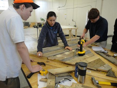 Emily Pilloton with Studio H students CJ Robertson and Stevie Mizelle. From IF YOU BUILD IT, a Long Shot Factory Release 2013.