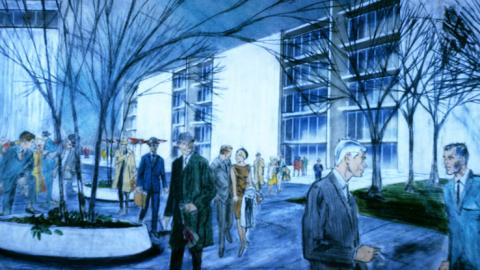 Concept rendering of Lewis Clarke's vision of downtown Raleigh as proposed by the 1965 Capital Area Plan. Lewis Clarke Collection, Special Collections Research Center, NCSU Libraries.