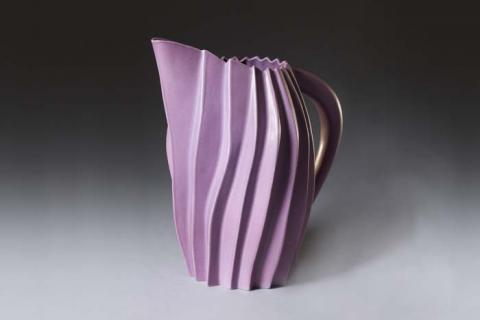 Tom Spleth, Pleated Ceramic Pitcher. Gift of the Friends of the Gregg.