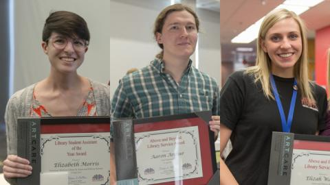 Elizabeth Morris, Aaron Arthur and, Elizah Warren were recognized at the Student Assistant Program Committee's spring student appreciation and awards event.
