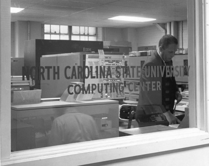 View looking through window of North Carolina State University Computing Center, circa 1970
