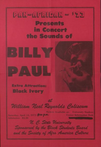 Flyer for the 3rd annual Pan-Afrikan Festival featuring Billy Paul in 1973, from the Society of Afro-American Culture Records (UA021.513), half box 5, folder 1