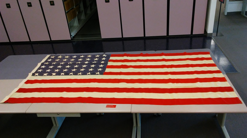 Flag from the casket of Captain George Rom Hardesty, an NC State alumnus who died in WWI.  He was buried in Arlington National Cemetery.