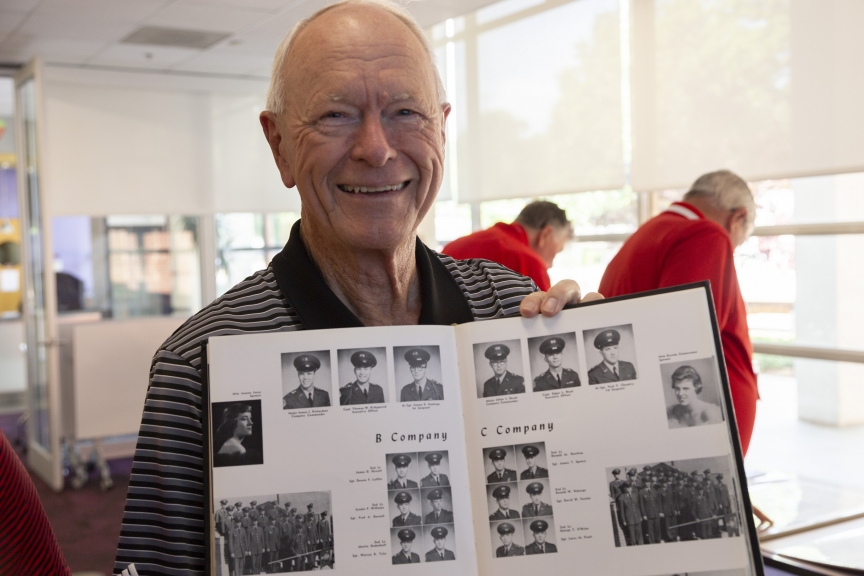 Alumnus Alton Sheek ('60) shows his picture in the 1960 Agromeck yearbook.