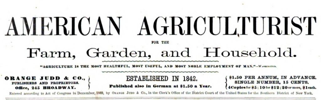 Masthead of the American Agriculturist, from the Jan. 1870 issue.