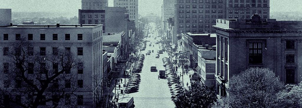 Historical digital photograph of downtown Raleigh, NC.