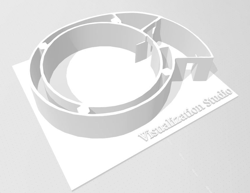 3 D model of the Visualization Studio, showing the entrance into the vestibule and the perfectly round inner projection space