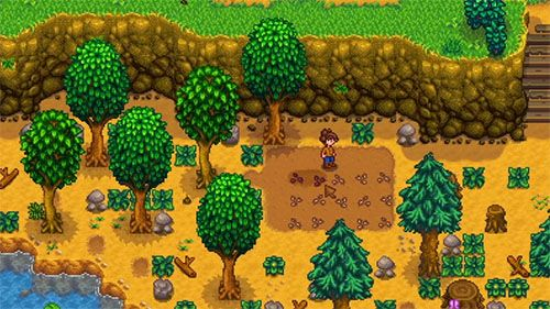 Game screenshot of a character on a farm surrounded by trees and rocks