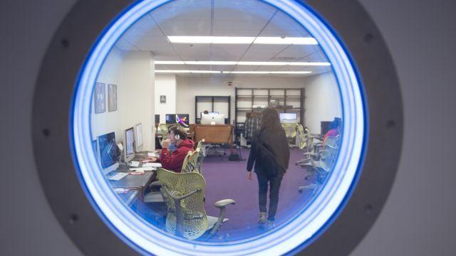Porthole window outside of the Hill Digital Media Lab.