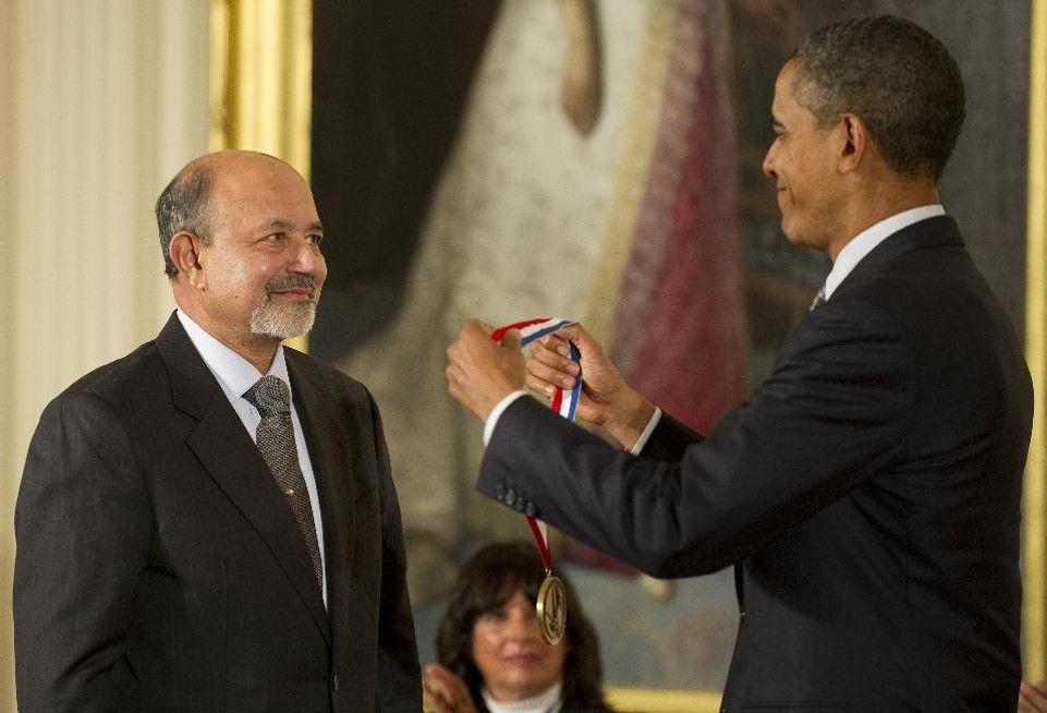 Dr. Jayant Baliga receiving the 2010 National Medal of Technology and Innovation.