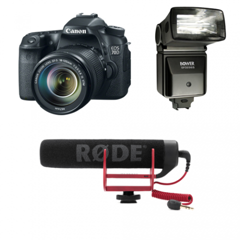 DSLR camera, flash unit, and shotgun microphone
