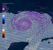 Visualization of Hurricane Katrina using the Weather Research and Forecasting model.