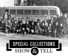 Forestry students with bus, black and white