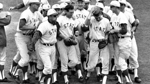 The Wolfpack baseball team after winning the ACC championship, 1968