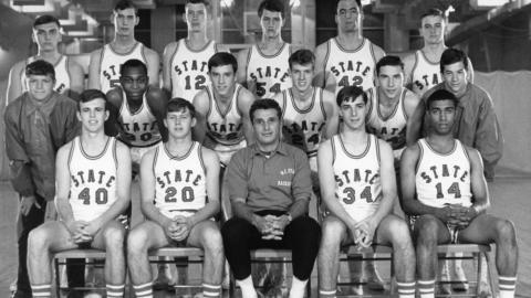 The 1967-1968 men's freshmen basketball team was the first at NC State with African American players.  William Cooper is first from right in the front row.  Al Heartley is second from left in the middle row.