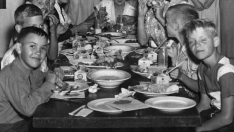 4-Hers in the Camp Schaub dining hall in Haywood Co., NC, ca. 1955.