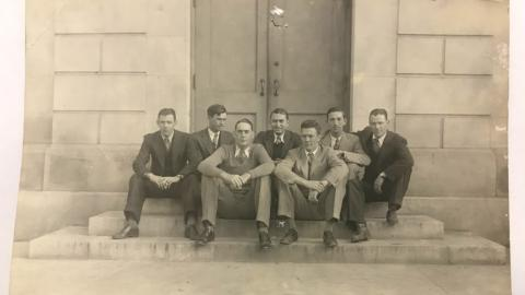 Ferree (second from right) and the architectural seniors of 1930 at NC State
