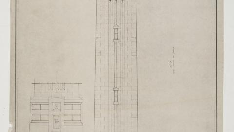 An undated drawing of the Memorial Bell Tower from the Office of the University Architect Records, Flatfolder 638