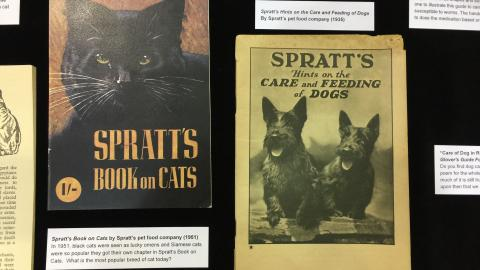 """Spratt's Book on Cats"" (1951) and ""Hints on the Care and Feeding of Dogs"" (1935) published by Spratt's pet food company."