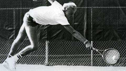 Tennis player Krister Larzon during N.C. State and Atlantic Christian match, 1986